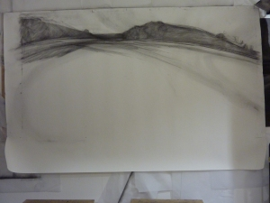'this borrowed place' 2015 (in progress) compressed charcoal, forged mild stee